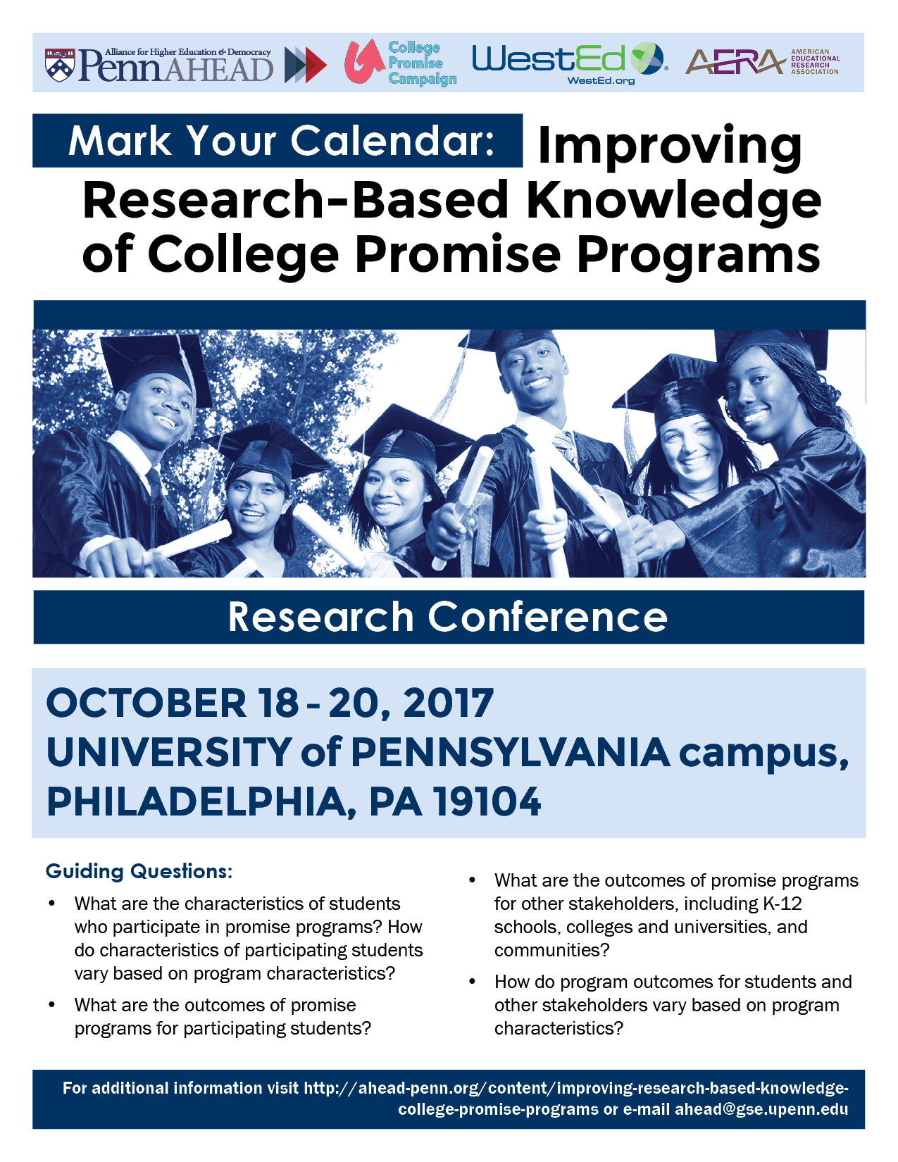 Flyer for the October 2017 Improving Research-Based Knowledge of College Promise Programs Conference